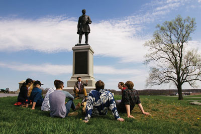 Lecture with students on the Gettysburg battlefield