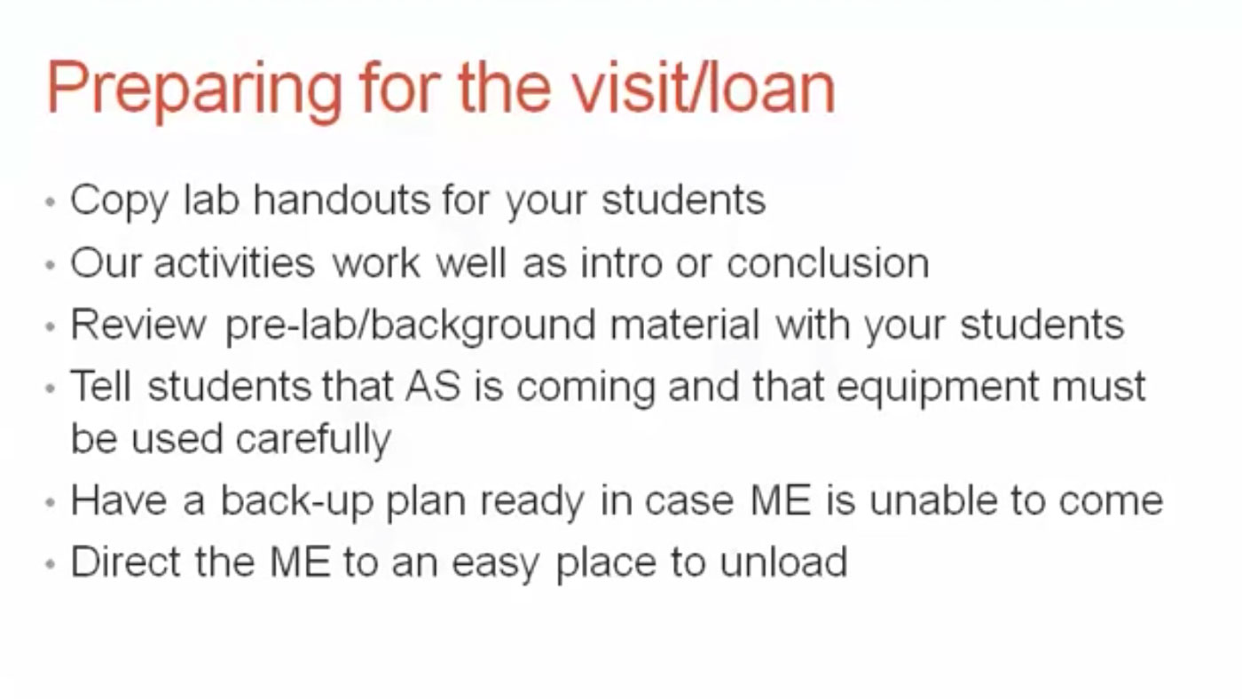 An example slide containing instruction for preparing for the visit/loan