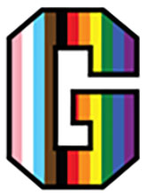 Gettysburg College G logo with LGBTQIA+ colors