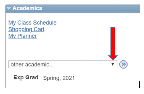 Screenshot of Student Center interface with arrow directing users to click a drop down menu