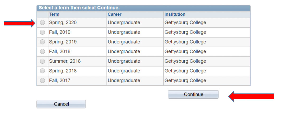 Screenshot of table showing a list of semesters to choose from including Spring 2020