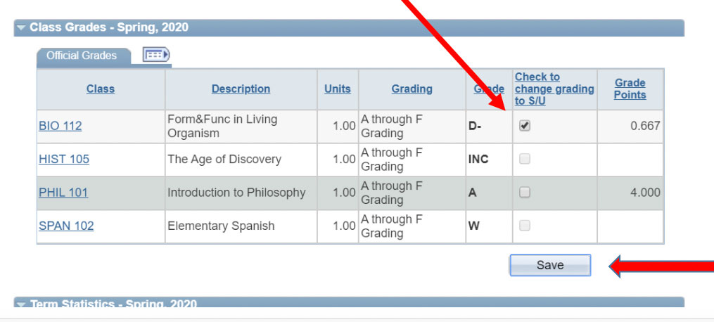 Screenshot of table with box checked next to BIO 112 indicating Satisfactory or Unsatisfactory grading has been selected